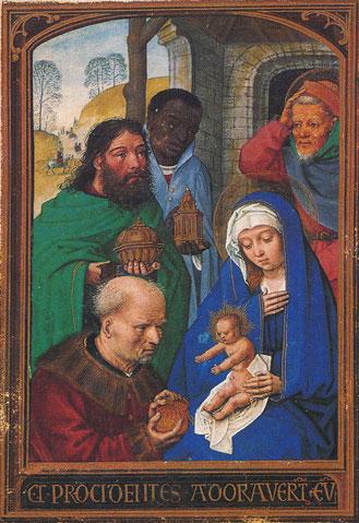 La adoración de los Reyes. Simon Bening. Miniatura del Libro de Horas Floridas, (1520-1525). Munich. Bayerische Staatsbibliothek.